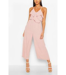 linnenmix cullotte jumpsuit met ruches, nude