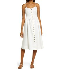 women's madewell button front linen blend midi dress, size 12 - white