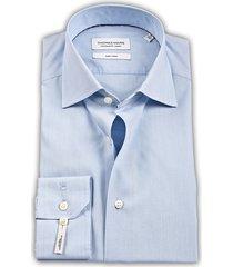 thomas maine heren overhemd blauw fine poplin tailored ml7