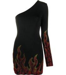 alexandre vauthier flame print one-shoulder bodycon dress - black