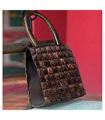 coconut shell handbag, 'modern autumn' (thailand)