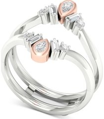 diamond two-tone tiara enhancer ring (3/8 ct. t.w.) in 14k white gold & rose gold