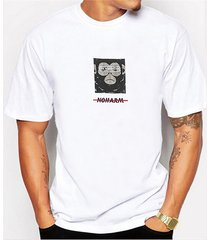 camiseta de manga corta estampada con estampado de estilo hip hop blanco y verano para hombre