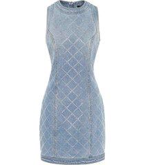 embellished denim mini dress