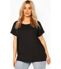 plus basic oversized lang t-shirt, zwart