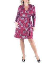 women's plus size floral mini wrap dress