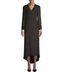 ganni women's striped maxi wrap dress - black - size 38 (6)