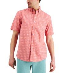 club room men's foulard linen-blend short sleeve shirt, created for macy's