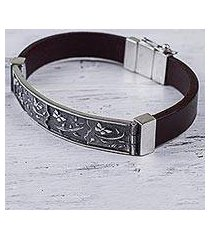 sterling silver and leather wristband bracelet, 'butterfly garden' (peru)
