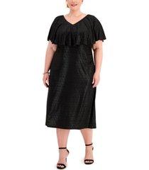 connected plus size metallic-dot capelet dress