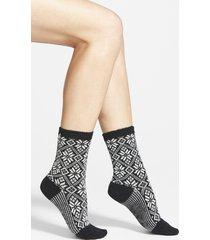 women's smartwool snowflake pattern crew socks, size small - black