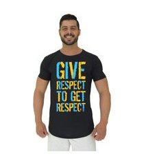 camiseta longline alto conceito give respect preto