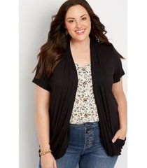 maurices plus size womens black short sleeve slouchy pocket cardigan