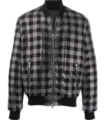 balmain crystal-embellished bomber jacket - black