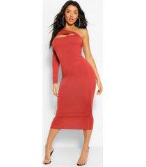 bodycon midaxi-jurk met één uitgesneden schouder, roest