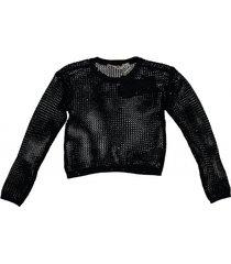 garcia kortere off black katoenen trui met pailletten