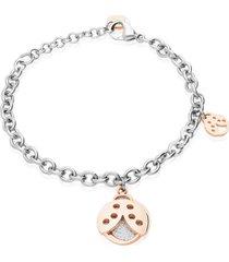 bracciale in acciaio bicolore con charm coccinella con glitter per donna