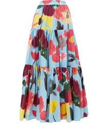big floral-print poplin maxi skirt