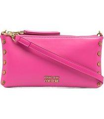 versace jeans couture logo-plaque clutch bag - pink