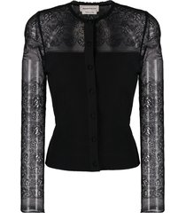 alexander mcqueen lace ribbed-knit cardigan - black