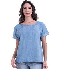 t-shirt manga raglan bloom jeans azul - azul - feminino - dafiti