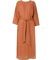 andrea marques belted relaxed fit dress - brown
