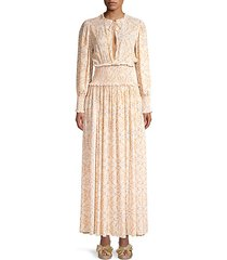 addision printed blouson maxi dress