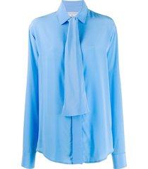 victoria beckham new scarf shirt - blue