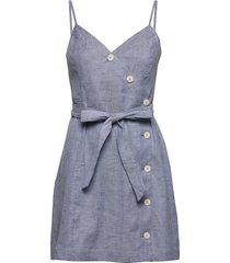linen-cotton button-front mini dress kort klänning blå banana republic