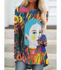 camicetta o-collo manica lunga stampa fumetto multicolore per donna