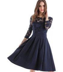 vestido clásico encaje azul nicopoly