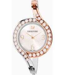 orologio lovely crystals bangle, bracciale di metallo, bianco, pvd bicolore
