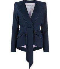 hebe studio tie waist structured shoulder blazer - blue