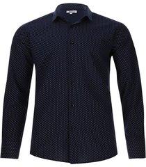 camisa m/l semi circulos color azul, talla l