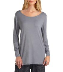 women's long sleeve reversible drape back pullover