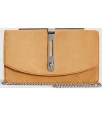 reiss ada - suede clutch bag in tan, womens