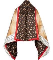 burberry mariner print puffer cape - brown