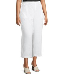 eileen fisher women's plus ankle-length linen pants - cocoa - size 3x (22-24)