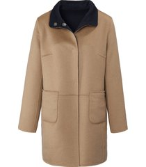 keerbare lange jas met staande kraag van basler beige