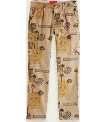 scotch & soda loose fit print cotton cargo trousers
