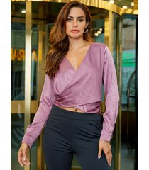 yoins rosa cruzado delantero cruzado diseño blusa de manga larga