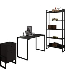 conjunto escritã³rio 3 peã§as mesa 120cm estante 5 prateleiras e gaveteiro 2 gavetas new port f02 preto - mpozenato - unico - dafiti
