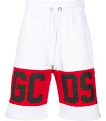 gcds white cotton logo panel track shorts