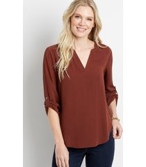 maurices womens solid rust v neck popover blouse brown