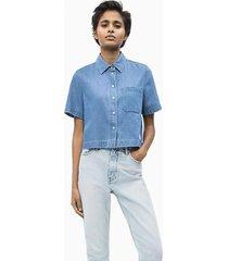 camisa jean calvin klein cropped ss shirt