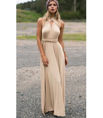 khaki sexy women convertible wrap maxi dress