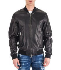 men's leather outerwear jacket blouson aviator bomber