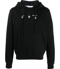 off-white peace worldwide cotton hoodie - black