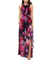 betsy & adam petite side-ruffle halter gown