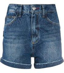 philipp plein stonewashed hot pants - blue